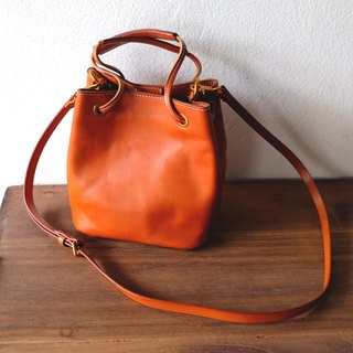 Square Leather Bucket Cross-body Bag/ Brown Leather Tote Handbag