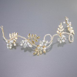 Gold tone leaves headband for brides Swarovski crystals headpiece