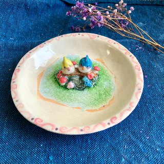 Parrot couple- Handmake Ceramic and glass Jewellery plate