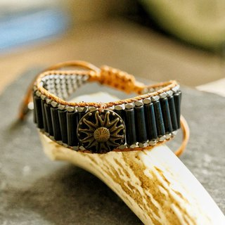 黑石, 半寶石手鍊 ( Vintage bracelet with Gem Black Stone )