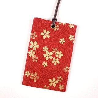 Easy Travel Card ID Card Holder Card Holder - Cherry Blossom (Red)