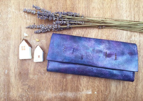 Accordion vegetable tanned leather long wallet - My little green - Lavender