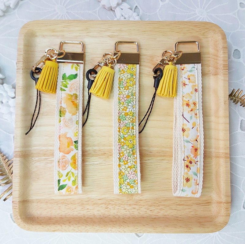 Yellow floral fabric tassel mobile phone anti-fall wrist strap