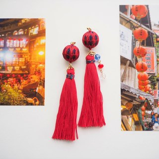 tachibanaya Taiwan 九份 Jiufen japanese TEMARI earrings Red tassel swarovski