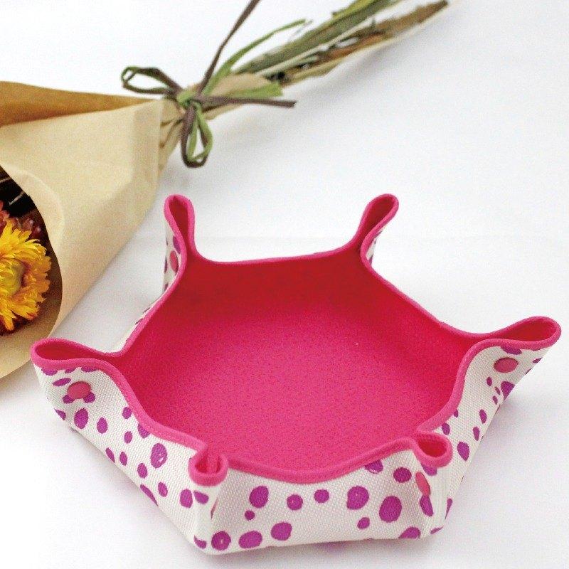 置物收納盤【寶特瓶回收環保纖維織品】粉紅圓點