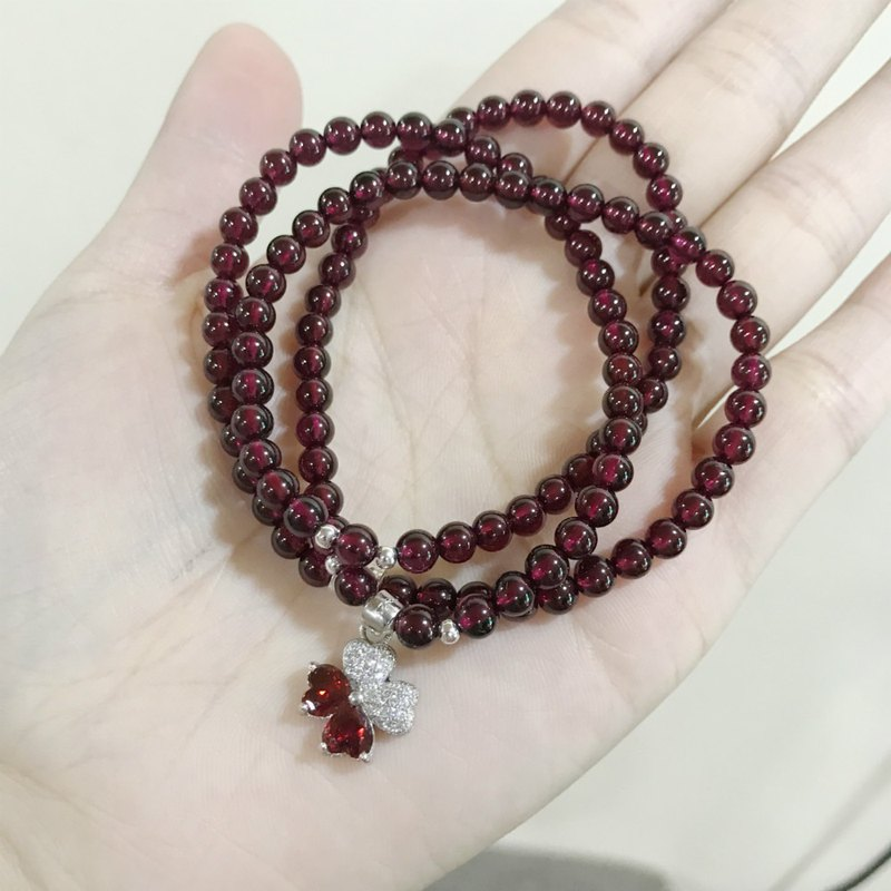 Natural garnet + four-leaf clover crystal bracelet wine red beauty transfer personality multi-ring bracelet bracelet