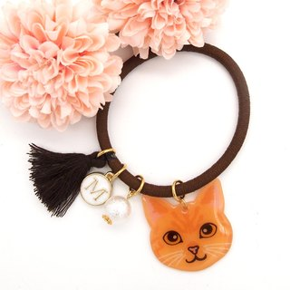 Meow handmade cat and cotton pearl hairband - yellow cat
