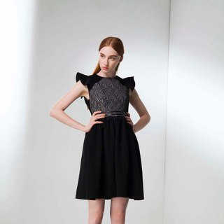 Lotus sleeves lace stitching dress