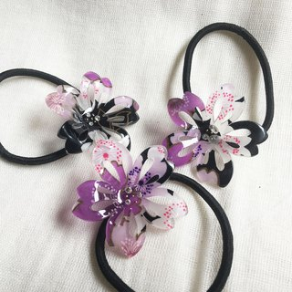 Cherry blossoms ponytail-purple