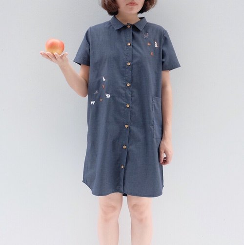 Shirt Dress - cat story ( Grey Color )