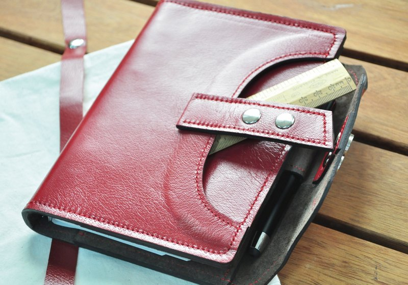 Cycle Life Series: cherry red leather 6-hole B6 loose-leaf notebook
