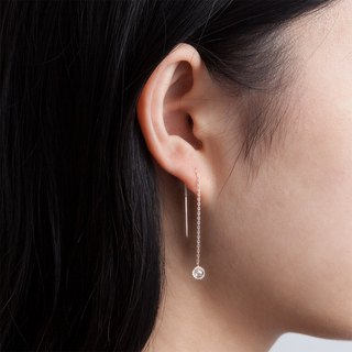 White Crystal Drop Earrings - Sterling Silver / Rose Gold / 18K Gold