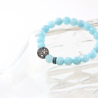 Fashion Energy Jewelry Series - Sea Water Blue Quartz Lace Carved Silver Bead Bracelet