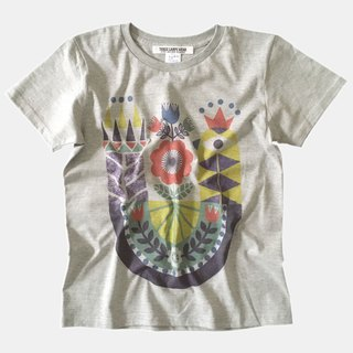 Geometric bird illustration Print T-shirt- Gray x Yellow - women's/men's/unisex