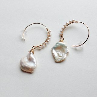 14 kg fresh water Keshi Pearl × Vintage Pearl Hitoha Hoop earrings OR earrings