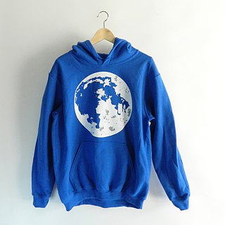 Super Moon-Adult Sweatshirt Royal Blue Pullover Hoodie Earth Moon Phase