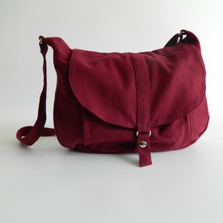 Cross body bag , School Canvas Shoulder bag - no.12 KYLIE in Rose Red