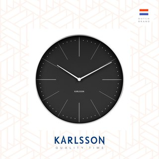 Karlsson 37.5cm wall clock Normann station black, brushed case