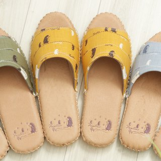 Leather cloth flower indoor slippers (walking in the first line) mustard yellow