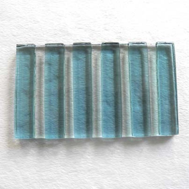 寬直紋琉璃皂盤(藍)