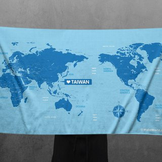 Make World map manufacturing sports bath towel (water blue)