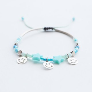 Smiley mint star adjustable string bracelet