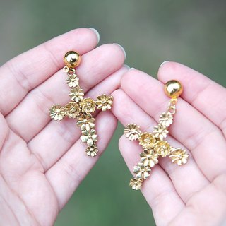 Flower Cross Earrings, Floral Cross Earrings, Cross Earrings, Cross Jewelry, Crucifix Earrings