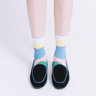 Light Mousse Feet! Velvet Trimming Small Square Sandals Black MIT - Black × Sage Blue Trimming