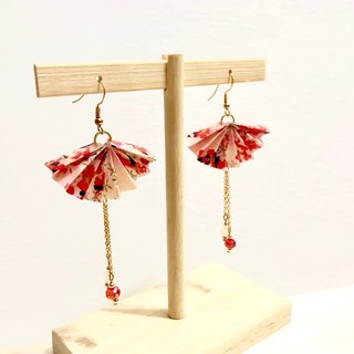 [Limited color system] Japanese thousand language paper fan series earrings