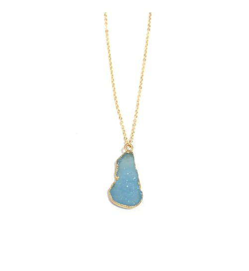 Sky blue agate original stone pendant necklace