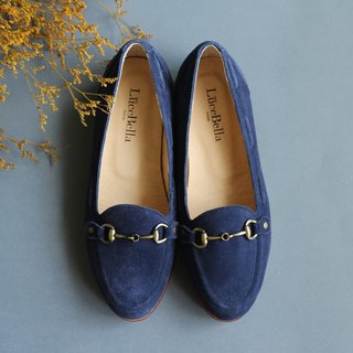 [Owl glasses] 3M waterproof leather flat shoes _ dark blue