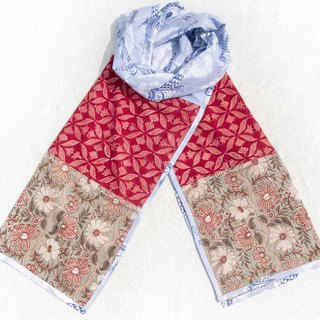 Hand-woven pure silk scarves handmade wood engraved plant dyed scarves grass wood dyed cotton scarves - red desert oasis