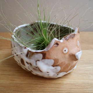 Third Floor Handmade Pottery Small Hedgehog Potted Flower Storage Container