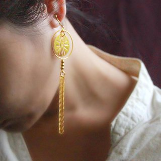 Breeze moon. 20k gold-plated long tassel earrings.