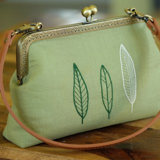 CaCa Crafts | Kisslock Handbag - Hand Embroidered Summer Leaves