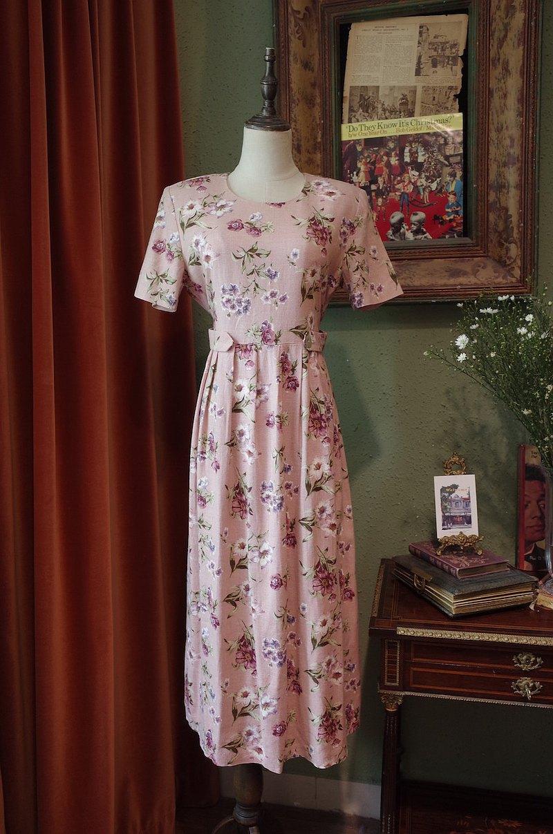 vintage dress豆沙粉印花連衣裙古著洋裝連衣裙