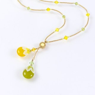 Yellow green drop long necklace, beaded jewelry, boho chic, cute, gift, 400