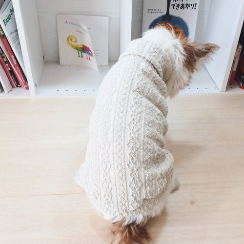 Dog clothes Aran pattern / Oatmeal   3S size