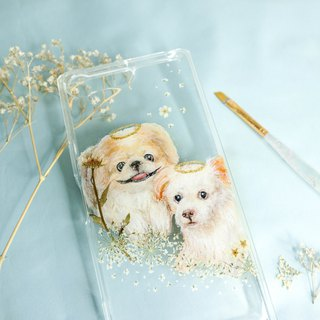 Tailor-made Hand-drawn Pet Pressed Flower Phone Case | Pekingese / Dog