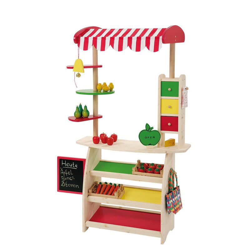 Yellow-green mad party. Wooden toy shop