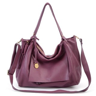 La Poche Secrete: French girl's cool bag _ red wine purple _ leather shoulder bag with backpack _1974