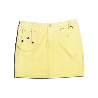 Mid-waist College Style Street Style Women Skirt Mini Solid Cotton 2 Detachable Pocket Skirt-yellow