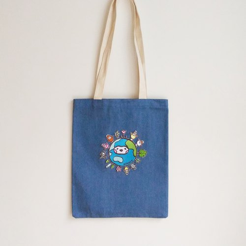 Earth Seeds Denim Stitching Tote Bag