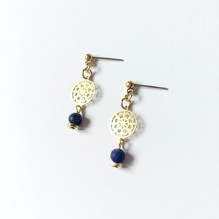 Brilliant ◆ [gravel series] Mercury mini natural stone blue sand grain stone surface pattern sheet shiny brass earrings ear clip ear acupuncture