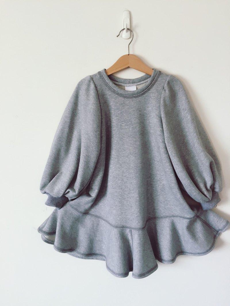 女孩孩童灰色棉質長洋裝