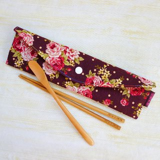 (Hard version) little rose extended version of environmental protection tableware package chopsticks set straw bag