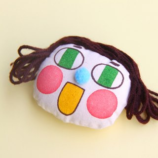 original brown hair style hand-drawn brooch