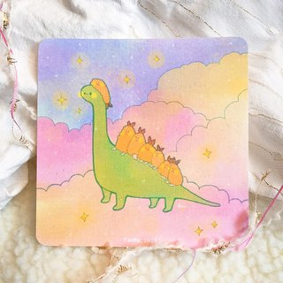 Dinosaurs and fried shrimps / rounded postcards