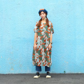 Maverick Village cotton and linen comfortable loose dress long coat [sea orange palm] J-34 limited edition