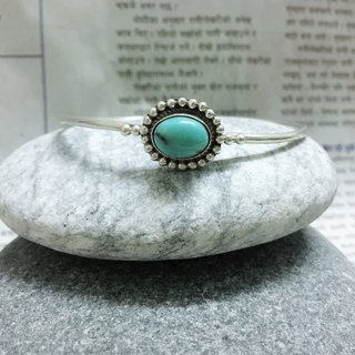 Turquoise bangle handmade in Nepal 92.5% Silver